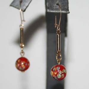 Beautiful gold and red drop dangle earrings